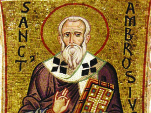 Sant'Ambrogio, mosaico, Cappella palatino Palermo, 1140.
