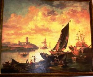 Imbarco su una nave a Gaeta. olio su tela, fine sec. XVIII.