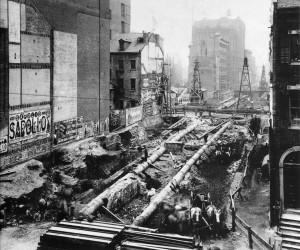 1902-3, Cantiere aperto per la costruzione della prima linea della Subway a Manhattan.