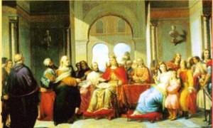 .-Giacomo-Conti-Federico-II-riceve-dal-filosofo-Michele-Scoto-la-traduzione-delle-opere-di-Aristotele-1860