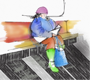 Durante i lunghi tragitti, molti leggono, sfogliano documenti di lavoro,correggono appunti.