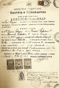 certificato di nascita di Kokalari