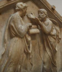 Platone e Aristotele, Luca della Robbia, formella, 1437-1439.
