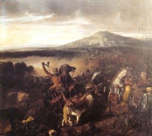 . Ruggero I nella battaglia di Cerami,1063.