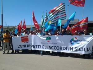 Manifestazione sindacale a Gela, dicembre 2017.