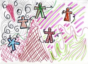 Esempi di disegno e testo realizzati dei partecipanti al workshop.j