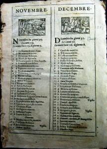 Calendario del XVI secolo con xilografie dei 12 mesi dell'anno (coll. L. Lombardo).