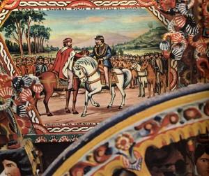 Incontro a Teano tra Garibaldi e Vittorio Emanuele II (particolare), Bagheria, bottega F.lli Ducato, prima metà sec. XX.
