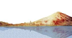 Veduta di Catania nel 1584 (rielaborazione digitale del disegno di Camillo Camiliani).