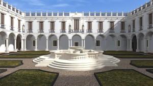 Chiostro di marmo realizzato nel '600 su progetto dell'arch. Giulio Lasso (elaborazione digitale in 3D dell'Accademia di Belle Arti di Catania sulla base della restituzione storica dell'ing. Salvatore Maria.