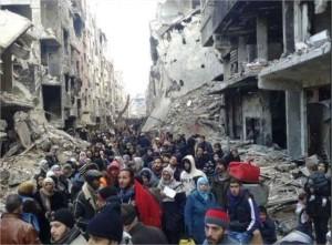 esodo-verso-campo-profughi-palestinesi-di-Yarmouk.
