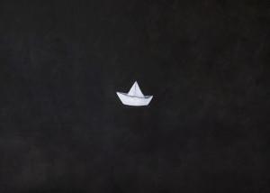 M. Scuderi, Origami, 2018. Acrilico su tela, 150x100 cm. (ph. Giulia Capasso e Valentina Stabile)