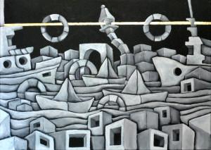 M. Scuderi, Esodi, 2018. Acrilico su tela con inserto in foglia oro, 70x50 cm. (ph. Giulia Capasso e Valentina Stabile)