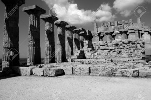 interior of greek temple of Selinunte in black and white Sicily