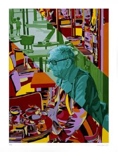 Ritratto di Jean Paul Sartre, di Gerard Fromanger, 2009.