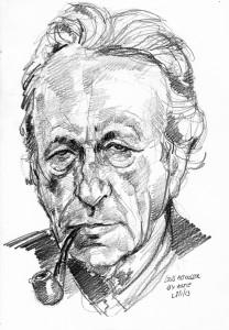Louis Althusser in un disegno di Arturo Espinosa.