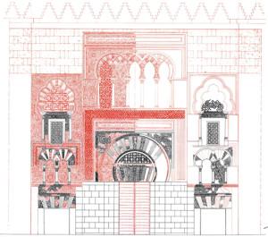 Progetto-di-restauro-della-facciata-della-Mezquita-di-Cordoba-in-nero-le-parti-originarie-in-rosso-le-integrazioni-proposte-R.-valazquez-Bosco-1908