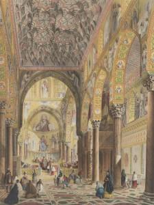 La-Cappella-Palatina-in-una-litografia-pubblicata-in-Henry-Gally-Knight-Saracenic-and-Norman-remains-to-illustrate-the-Normans-in-Sicily-Londra-1840.