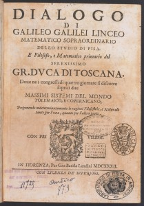 """Frontespizio de """"Il Dialogo dei Massimi Sistemi"""" di Galileo Galilei (Firenze, 1632)."""