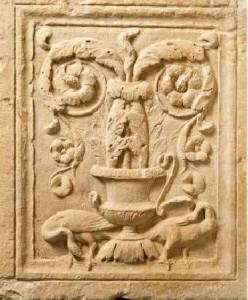 Rilievo-con-kantharos-cigni-e-decorazione-fitomorfa-Da-Cartagine.
