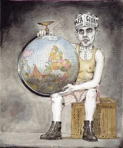 bruno-caruso-il-mondo-alla-rovescia-disegno-a-china-acquarellata-1954