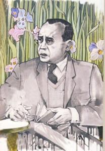 bruno-caruso-ritratto-di-leonardo-sciascia-a-villa-igea-disegno-acquerellato-1971