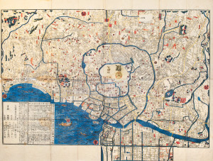 Ancient map of old japanese capital Edo Tokyo