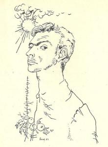 2-cattafi-in-un-disegno-di-luca-crippa-nella-prima-edizione-di-nel-centro-della-mano-1951