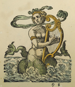 a-melusine-playing-the-harp-coloured-woodcut-by-jost-amman