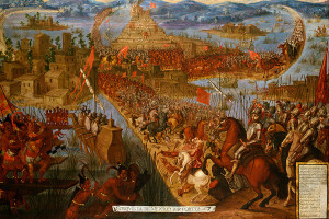 Hernan Cortes attacking the Aztec capital city, Tenochtitlan, in 1521, a year after ' the sad night'. For this attack he had