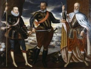Fig. 10 I vincitori di Lepanto: da sinistra Giovanni d'Austria, Marcantonio Colonna e Sebastiano Venier, 1575, Vienna, Kunsthistorisches Museum