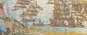 Partenza della flotta per Lepanto, Genova, Villa Principe, ciclo di arazzi commissionati da Giovan Andrea Doria c.a 1590