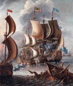 Combattimento navale con i corsari barbareschi, di Lorenzo A. Castro, 1681