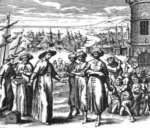 I padri redentori, immagine tratta da, The Story of the Barbary Corsairs by Stanley Lane-Poole, pubblicata nel 1890 da G.P. Putnam's Sons.1637