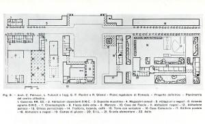 Planimetria del centro cittadino di Pomezia (arch. Petrucci, Tufaroli, Paolini, Silenzi) [Roccateli 1938]