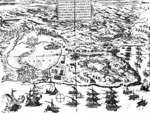 Tunisi nel 1573, trovata nella Storia dei corsari barbareschi di Stanley Lane-Poole, pubblicata nel 1890 da G.P. Putnam's Sons