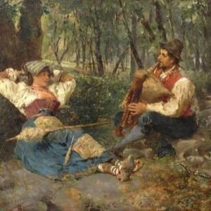 Francesco Bergamini, Scena galante, sec. XIX