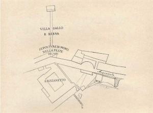"""Planimetria del Lazzaretto e del Fondo Gallo e Berna con l'area cimiteriale del 1626 - Da """"Un ricordo della peste di Palermo del 1626"""" di A. Salinas"""