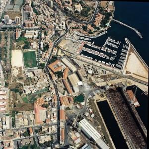 Veduta aerea dell'area presa in esame con il campetto di calcio proprietà dei Cantieri Navali Riuniti di Palermo - Da Ing. Majone nel 2018